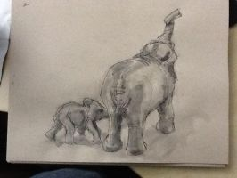LunchDoodle - Elephants by GilTriana