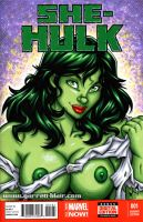 Naughty She Hulk bust sketch cover by gb2k
