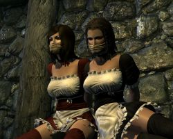 Two maids tied up and  gagged 2 by skygaggedrim