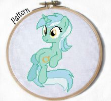 Sitting Lyra cross stitch pattern by JuliefooDesigns