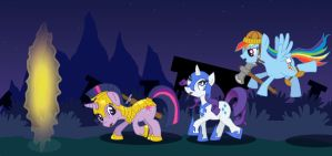 Ponies at the Portal by Arkhein