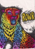 Rainbow Cat Says ROWR by x-surrealist-x