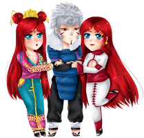 Chiyemi ,Tamiko and Tobirama -commission by Solceress