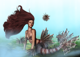 Lionfish mermaid by ClvArt