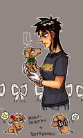 Kaijiko with pup by emlan