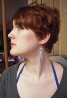 Blue Jellyfish Earrings Side view by lily-inabottle