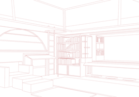 3D Room Lineart for Free Use by Annyaonweb
