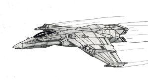 Valravn Strike Aerospace Fighter Cruises by TheCentipede