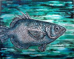 Green fish embossed panel by shmeeden