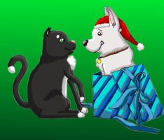 Bolt and Mittens     Merry Christmas by CrazyJefffersonian