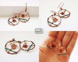 Orange Tulip Earrings by Zsamo
