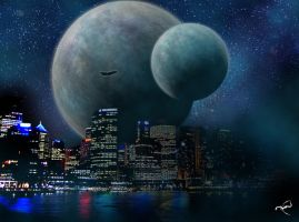 Planet Over City by Trial-By-Fire
