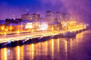 River port in winter by PabloRusto