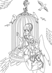 The Bird In The Cage Lineart by salamandershadow