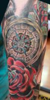 Compass Rose Tattoo done by Sean Ambrose by seanspoison