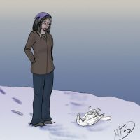 3 Raivyn and Crow play in snow by modesty