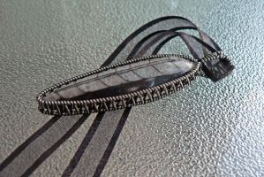 Monochrome Fossil Pendant by magpie-poet
