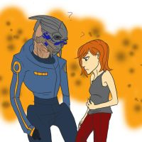 Confused Shep and Garrus by greenmamba5