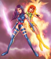 Psylocke and Marvel Girl by CmX-23