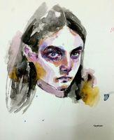 Face study with watercolor by Kayehaan