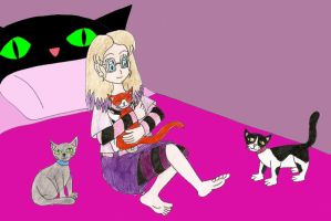 Annemarie and her cats by Animedalek1