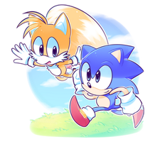 Sonic and Tails by azulila