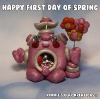 Polymer Clay Robot - Happy Spring by KIMMIESCLAYKREATIONS