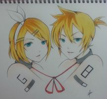 Kagamine Twins~~ Rin and Len by thumbelin0811