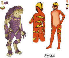 ME concepts: krogan and drell ladies by uropygid