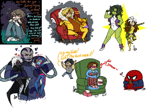 Mini Marvel Sketch Dump 6 by Squidbiscuit