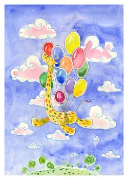 Giraffe and balloons by jkBunny