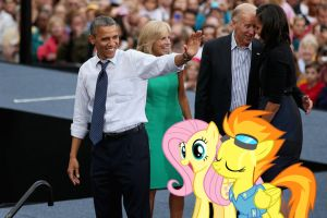 Barack Obama With Fluttershy And Spitfire by RicRobinCagnaan