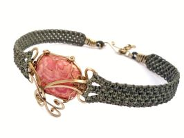 Wire Wrap and Macrame Choker by hyppiechic