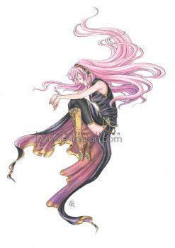 Megurine Luka watercolor by MeredithDillman