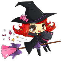 Candy Witch Minichibi Commish by YamPuff