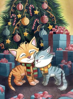 Christmas Cats by Alanpaints