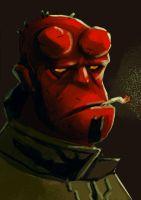 Hellboy sketch by TeslaRock