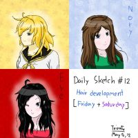 Daily Sketch #12 - Hair Development by F1rst-Pers0n