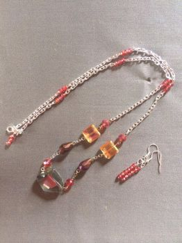 Simple Red Statement Necklace and Earrings by PerryAlexandra