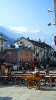 Chamonix street and cloudy Mont-Blanc by SP4RTI4TE
