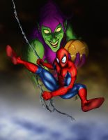 Archenemies - Spider-man and Green Goblin by judegallagher28