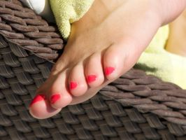 Amy's Bright Red Toes 2 by Feetatjoes