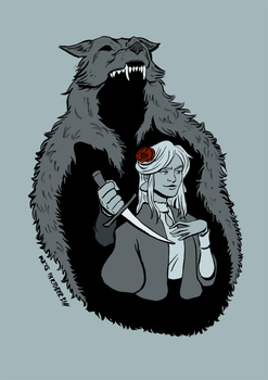 The Woman and The Hunter by riotingcutlery