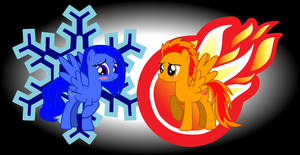 Firecloud and Ice Scerlite  Epicyoshi3900's MLP OC by BG93-Sketches