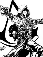 Assassin's Creed Black Flag BW by SuperImki