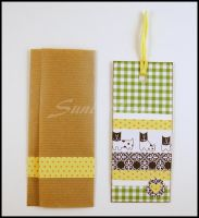 Bookmark - scrapbooking - green and white squares by SuniMam