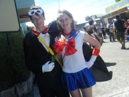 Tuxedo mask and Sailor moon by Claybirdies