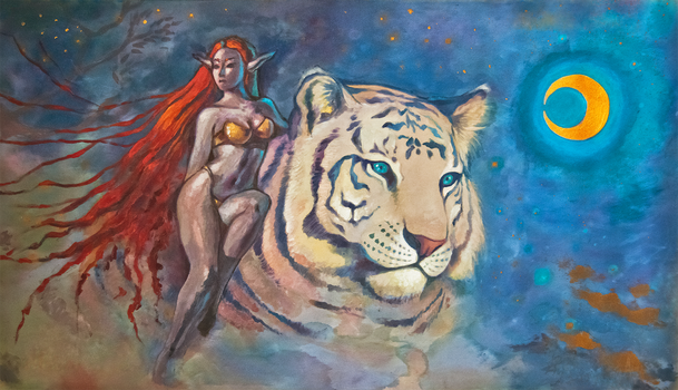 The Elf and the White Tiger by MEISerenade