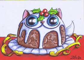 Funny cat is a Xmas Pudding by KingZoidLord