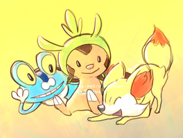 Gen 6 starters by AxMongrel
